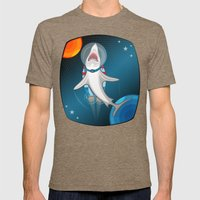 shark in space Mens Fitted Tee Tri-Coffee SMALL