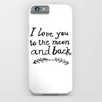 iPhone & iPod Case featuring To the Moon and Back- White by Rebecca Allen