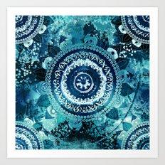 Teal Sea Mandala Art Print