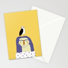 Women and Owl, owl art, people, illustration, fashion, style,  Stationery Cards