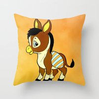 Childhood Donkey Throw Pillow