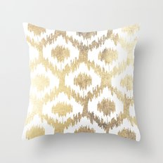 Modern white hand drawn ikat pattern faux gold  Throw Pillow