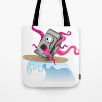 Monster Camera Surfing Tote Bag