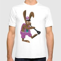 The Clarinet Bunny Mens Fitted Tee White SMALL