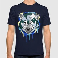 Wolf Mens Fitted Tee Navy SMALL
