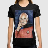 Captain Picard Womens Fitted Tee Tri-Black SMALL