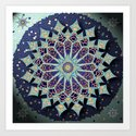 Mosaic Mandala in Blue Art Print