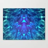 Deep Blue Collosal Low Poly Triangle Pattern -  Modern Abstract Cubism  Design Canvas Print