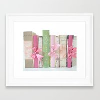 Shabby Chic Cottage Pink Aqua Books Collection  Framed Art Print