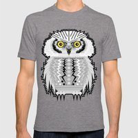 Geometric Snowy Owl Mens Fitted Tee Tri-Grey SMALL