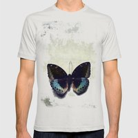 Vintage Butterfly 4 Mens Fitted Tee Silver SMALL