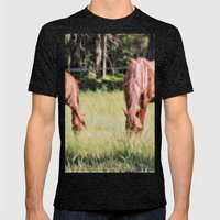Horses Feeding In A Fiel… Mens Fitted Tee Tri-Black SMALL