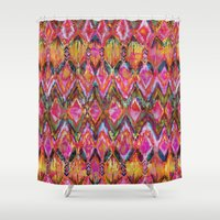 Ikat #32 Orange Shower Curtain