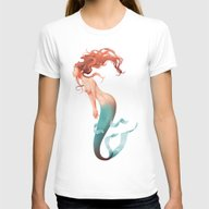 Mermaid Is Dreaming Abou… Womens Fitted Tee White SMALL