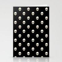 White Skulls On Black Stationery Cards