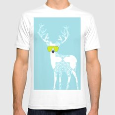 Blue Deer with sunglasses on  SMALL White Mens Fitted Tee