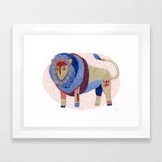 Blue Floral Lion Framed Art Print