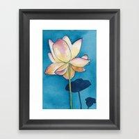 Lotus on Blue Framed Art Print