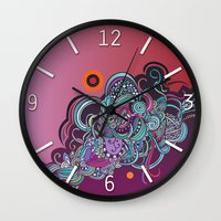 Detailed diagonal tangle, pink and purple Wall Clock