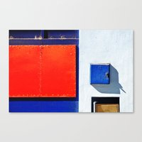 Red, blue, white shapes Canvas Print