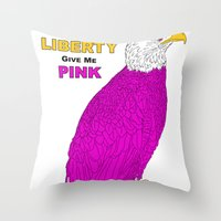 PINK LIBERTY EAGLE Throw Pillow