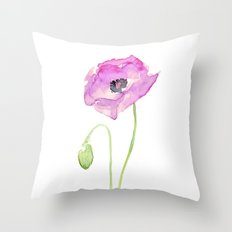 Flower Purple Poppy Floral Watercolor Throw Pillow