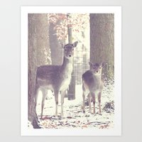 Deer Family Art Print