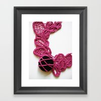 Black Pink Romanian Point Lace Photography Framed Art Print