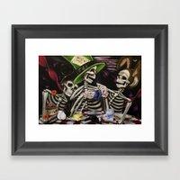Skeleton Tea Party Framed Art Print
