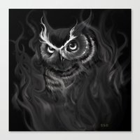 Canvas Print featuring Owl Aflame by S.G. DeCarlo
