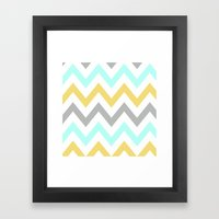 BLUE/GRAY/YELLOW CHEVRON Framed Art Print