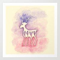 Reindeer Silhouette Watercolor Art Print
