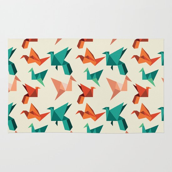 teal paper cranes Area & Throw Rug