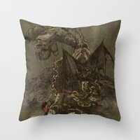 Junkyard Dragon  Throw Pillow
