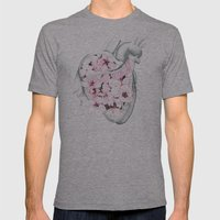 Blossom Burst Heart Mens Fitted Tee Athletic Grey SMALL