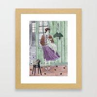 Girl With A Sheep Framed Art Print