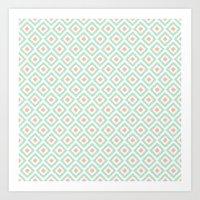 Mint And Coral Diamonds … Art Print