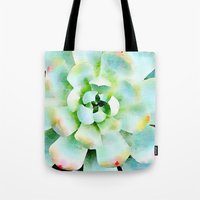 Mint Watercolor Succulent Tote Bag