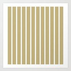 Vertical Lines (White/Sand) Art Print