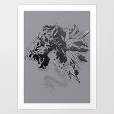 Snow Leopard (Grey) Art Print
