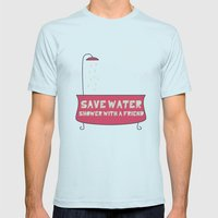 Save Water Shower With A… Mens Fitted Tee Light Blue SMALL