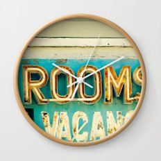 Rooms Neon Sign Wall Clock