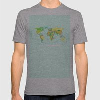World Map Mens Fitted Tee Athletic Grey SMALL