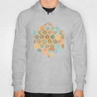 Golden Honeycomb Tangle - hexagon doodle in peach, blue, mint & cream Hoody