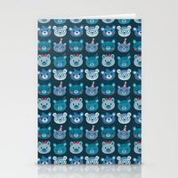 Cute Bear Faces Pattern Stationery Cards