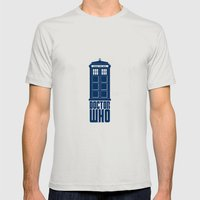 Doctor Who Tardis Mens Fitted Tee Silver SMALL