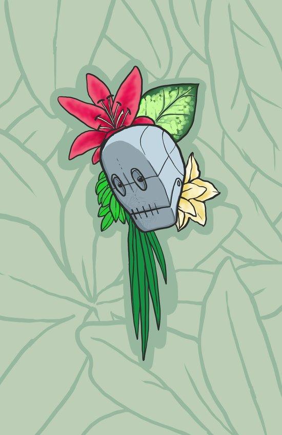 Flowery Robot Art Print