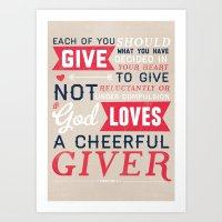 2 Corinthians 9:7 Art Print
