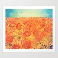 Sunflower Field -- Abstr… Art Print