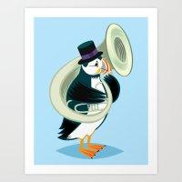 Puffin On A Tuba Art Print